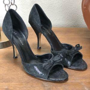Anne Klein Black Leather Open Toe D'orsay Heels